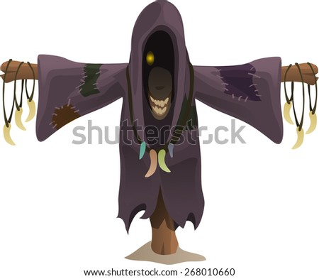 a Scarecrow in a black costume death - stock vector