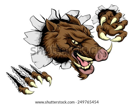 A scary boar animal mascot character breaking through wall with claws - stock vector