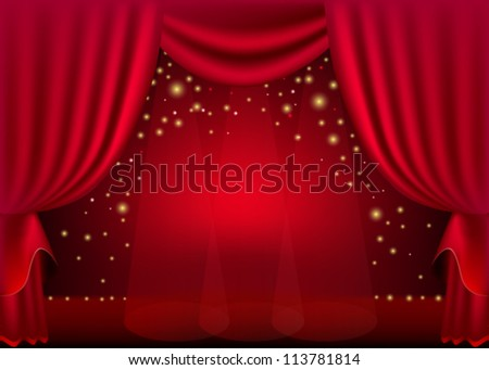 A scene with a red curtain and festive illuminations, background - stock vector