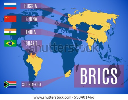 Schematic Map States Members BRICS Brazil Stock Vector HD Royalty