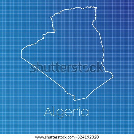 A Schematic outline of the country of Algeria - stock vector