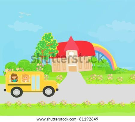 a school bus heading to school with happy children - stock vector