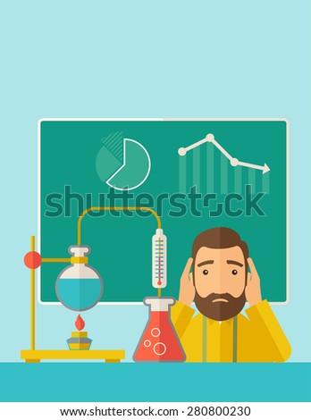 A science teacher with scared facial expression works on mixing chemicals for an experiment in the laboratory. A Contemporary style with pastel palette, soft green tinted background. Vector flat - stock vector