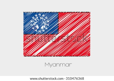 A Scribbled Flag Illustration of the country of Myanmar