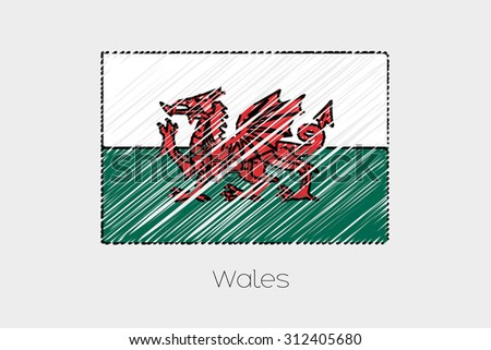 A Scribbled Flag Illustration of the country of Wales - stock vector