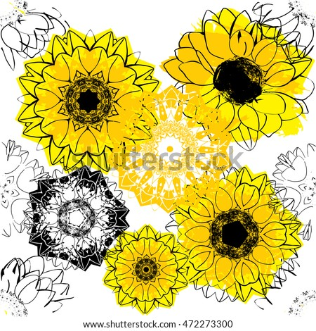 A seamless background pattern with stylized vector sunflowers and floral silhouettes on white background