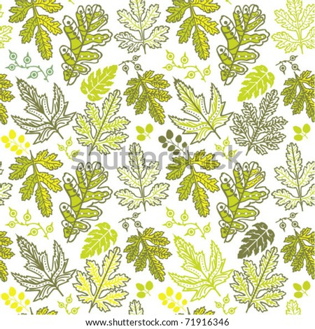 A seamless leaf pattern. Spring leaf endless texture.