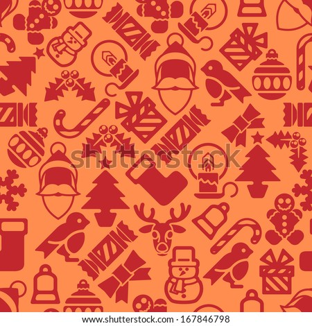 A seamless modern Christmas background pattern design with Santa robin, snowman, snowflakes, gifts and other Christmas items. - stock vector