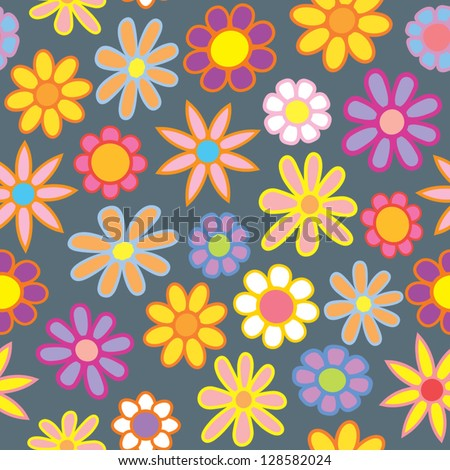 A seamless pattern of colorful cartoon flowers on a gray spring rainy contrasting background. - stock vector