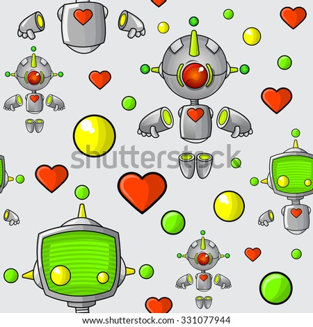 A seamless pattern of cute cartoon robots with hearts and spheres. - stock vector