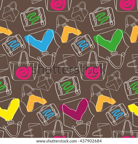 A seamless pattern of fashion handbags - stock vector