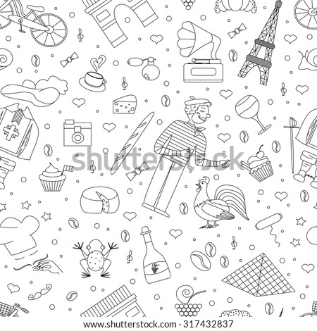 A seamless pattern of thematic elements of France, such, the Musketeers, a rooster, a baguette, croissant, cook, and more. Vector illustration of Paris's attractions. Figure in style hand-drawing.