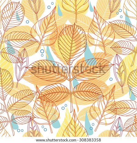 A seamless pattern with autumn leaves  - stock vector