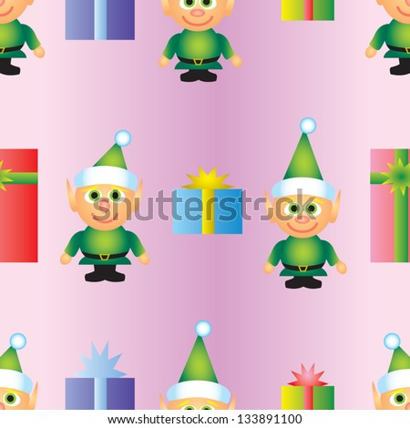 A seamless patterns of alternating elves and presents.