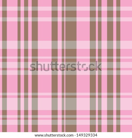 A seamless plaid pattern with brown and pink colors.