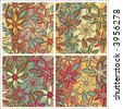 A seamless, repeating free-form floral pattern in four earthy colorways. - stock vector