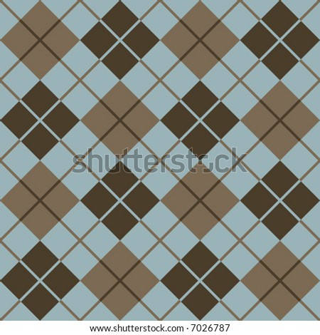 """A seamless, repeating 12"""" square vector argyle pattern in browns and light blue. - stock vector"""