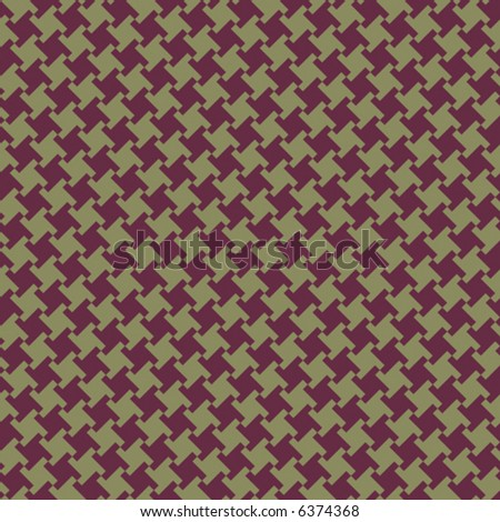 A seamless, repeating vector houndstooth pattern in burgundy and olive. - stock vector
