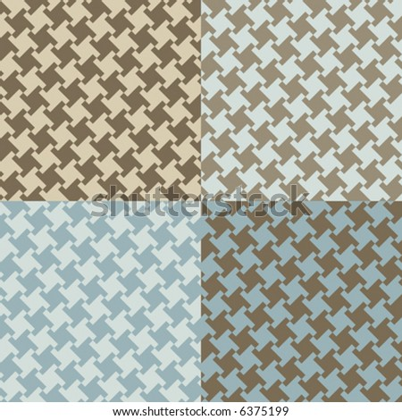 A seamless, repeating vector houndstooth pattern in four current fashion colorways. - stock vector