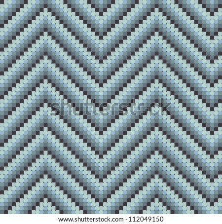 A seamless 60s retro zigzag pattern in cool colours, which is made of a mosaic of rounded squares. Perfect for repeat tiling or a stand alone wallpaper. - stock vector