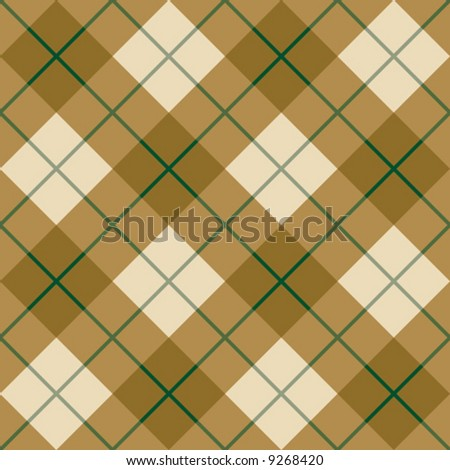 """A seamless 12"""" square vector plaid pattern in golden browns with a green stripe. - stock vector"""