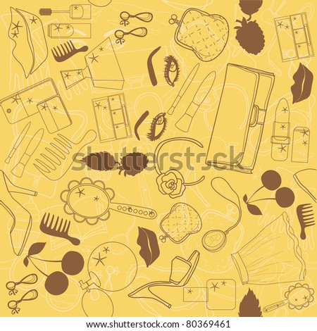 a seamless texture with elements of beauty and fashion. yellow - stock vector