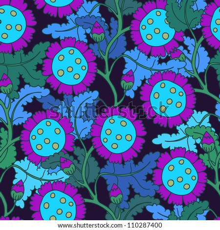 A seamless vector pattern with floral elements - stock vector