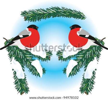 A seamless vector picture of bullfinches on snowy spruce branches.