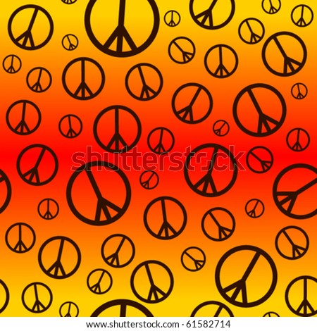 A seamlessly repeatable retro peace sign background. - stock vector
