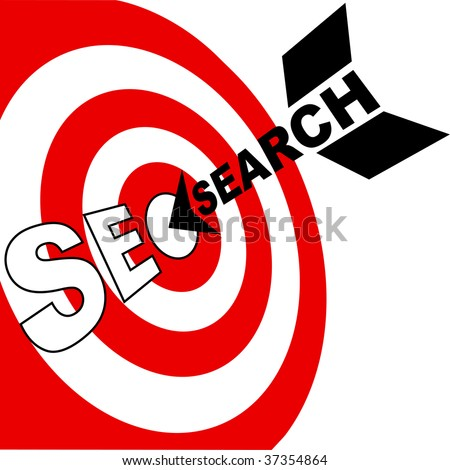 A search engine optimization arrow hits the target market SEO bulls eye - stock vector