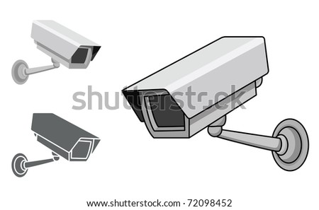 A security camera in 3 different styles, in editable vector illustration. - stock vector