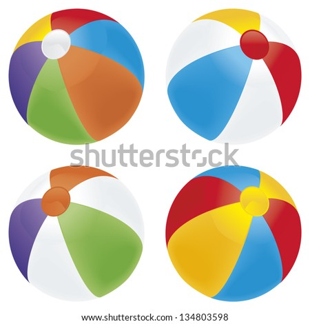 A selection of beach balls in multiple colors isolated on white. - stock vector