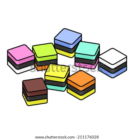 A selection of cubic / square colourful liquorice / licorice all-sorts. Individual pieces; can be rearranged. - stock vector