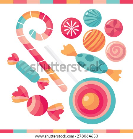A selection of delicious candy treats vector illustration. - stock vector