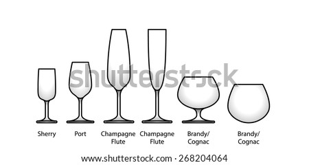 A selection of glasses: sherry, port, champagne, flute, brandy, and cognac. With labels. - stock vector