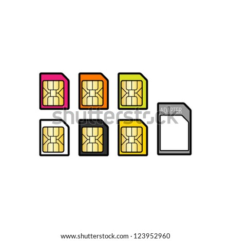 A selection of micro SIM cards of different colours and an adapter. - stock vector