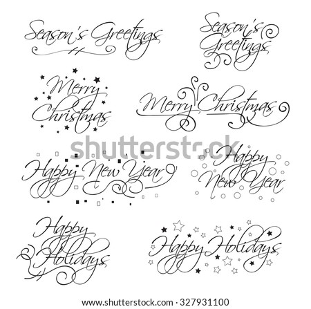 A selection of script holiday type with merry christmas, happy holidays, seasons greetings and happy new year - stock vector