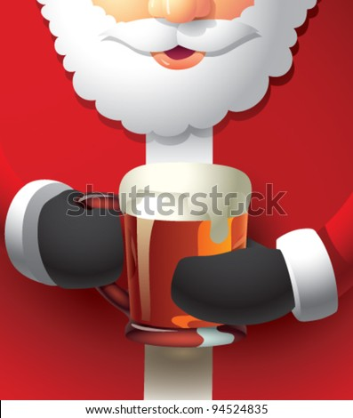 A semi-realistic cartoon illustration of Santa Claus holding a glass mug of beer with both hands. The mug is filled all the way to the top with some froth dripping down the side. CMYK vector image.