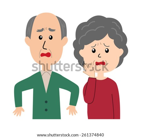 A senior couple with a shocked expression and poses, vector illustration - stock vector