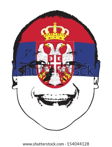 A Serbia flag on a face, isolated against white.  - stock vector