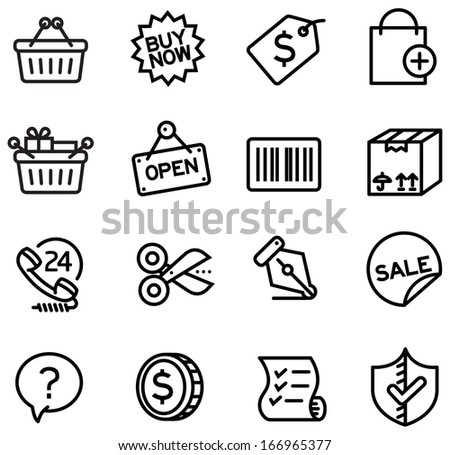 A series of shopping icons for website, presentation and application
