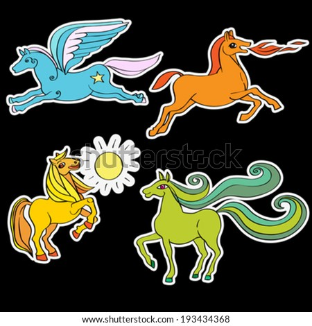 A series of toy horses stickers, hand drawn doodle illustrations of four happy baby animals, cartoons isolated on black - stock vector
