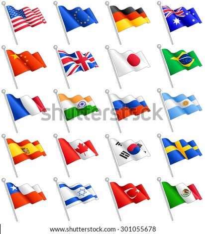 A set composed by the flags of 20 of the most important countries around the world, including the European Union flag. - stock vector