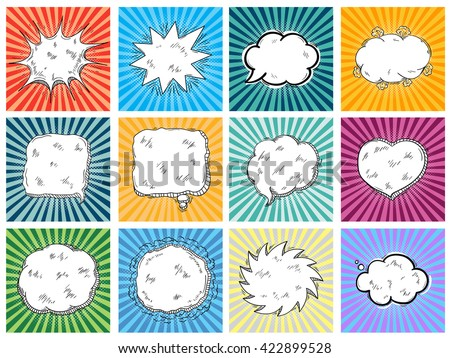 A Set if comic bubbles on explosion background vector. Thought bubble doodle collection in pop art retro style. - stock vector