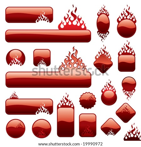 A set of a fire buttons at white background. - stock vector