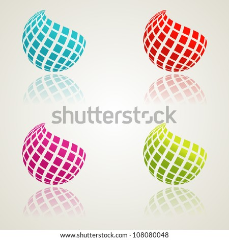 A set of abstract bcolor icons. Vector illustration. Eps10. - stock vector