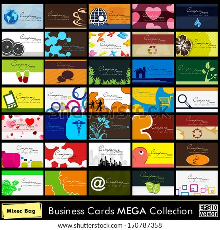 A set of 60 abstract business cards in different style.