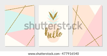 A set of abstract geometric design cards in light blue, cream, gold glitter and pastel pink. Modern and stylish  composition poster, cover, card design.