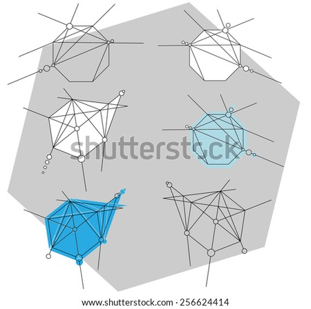 A set of abstract geometric design elements - stock vector