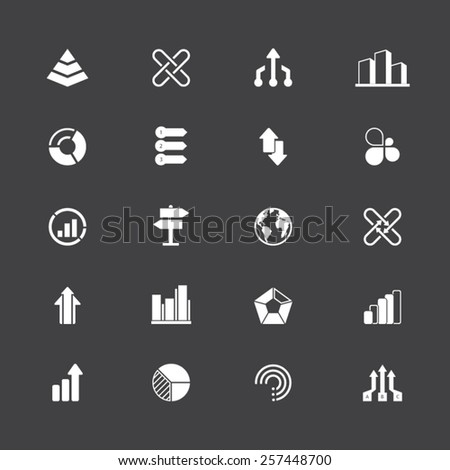 A set of 20 abstract icons - symbols, infographic elements. EPS 10 vector. Easy to edit and resize. - stock vector